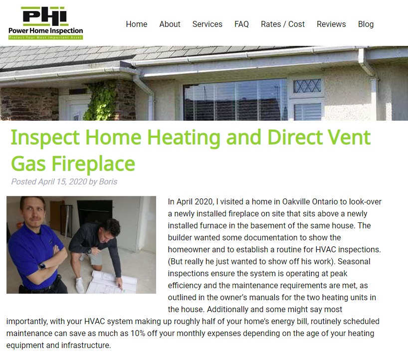 Power home inspection blog - direct gas fireplace entry